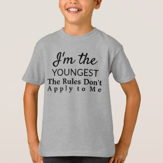 Funny Youngest Child Rules Sibling T-Shirt
