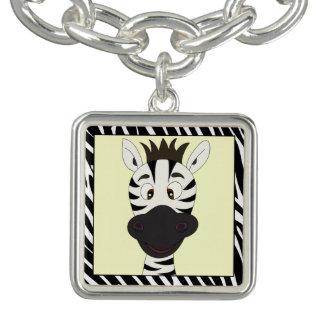 Funny zebra cartoon girls charm bracelets