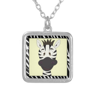 Funny zebra cartoon silver plated necklace