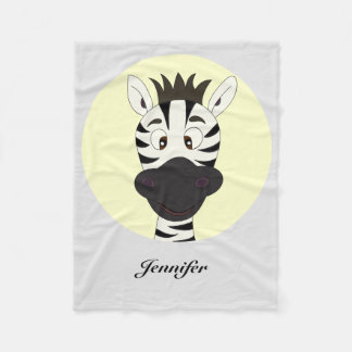 Funny zebra cartoon yellow kids name blanket