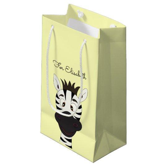 Funny zebra cartoon yellow kids name small gift bag
