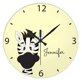 Funny zebra cartoon yellow kids name wall clock