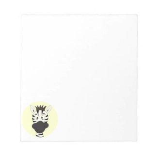 Funny zebra cartoon yellow kids notepad