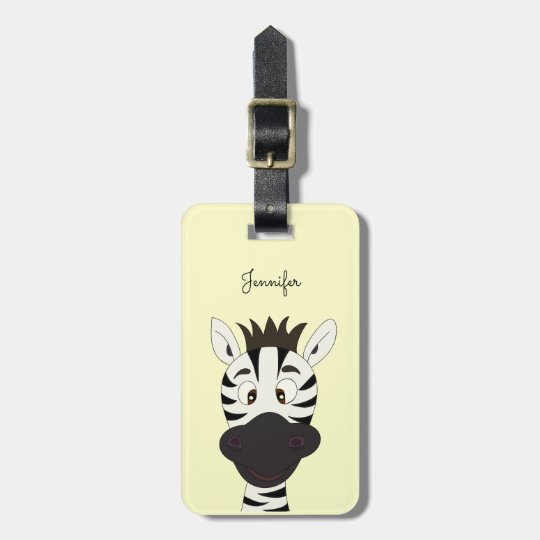 Funny zebra cartoon yellow luggage tag