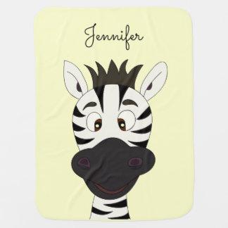 Funny zebra cartoon yellow name baby blanket
