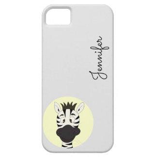 Funny zebra cartoon yellow name kids iphone case