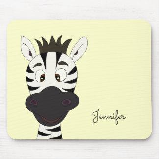 Funny zebra cartoon yellow name kids mousepad