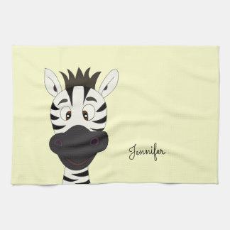 Funny zebra cartoon yellow name kitchen towel