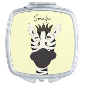 Funny zebra cartoon yellow name mirror travel mirrors
