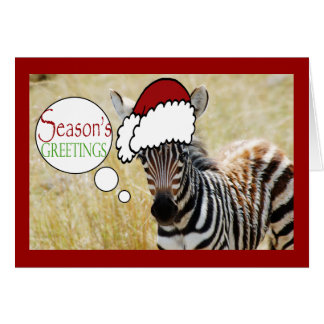 Funny zebra Christmas greeting business Card