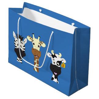 Funny zebra giraffe cow cartoon blue kids large gift bag