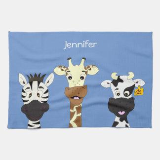 Funny zebra giraffe cow cartoon blue kitchen towel