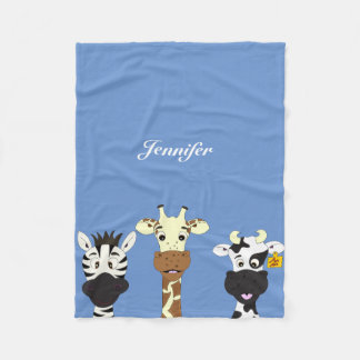 Funny zebra giraffe cow cartoon kids blanket