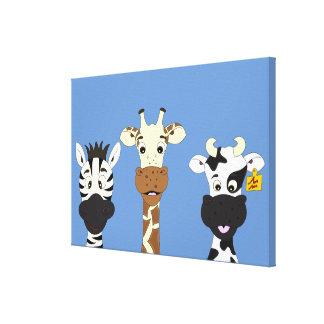 Funny zebra giraffe cow cartoon kids canvas