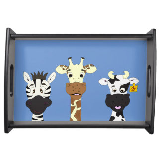 Funny zebra giraffe cow cartoon kids food tray