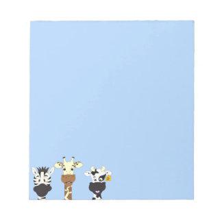 Funny zebra giraffe cow cartoon kids notepads
