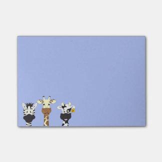 Funny zebra giraffe cow cartoon kids post-it® notes