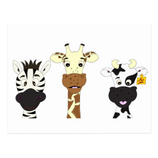 Funny zebra giraffe cow cartoon kids postcard