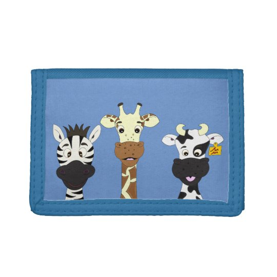 Funny zebra giraffe cow cartoon kids trifold wallet