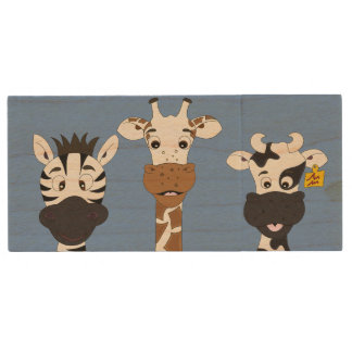 Funny zebra giraffe cow cartoon kids wood USB 2.0 flash drive