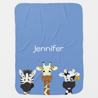 Funny zebra giraffe cow cartoon name baby blanket