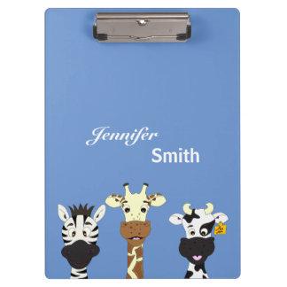 Funny zebra giraffe cow cartoon name kids clipboards