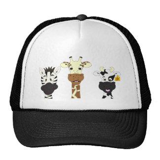 Funny zebra giraffe cow cartoon trucker hat