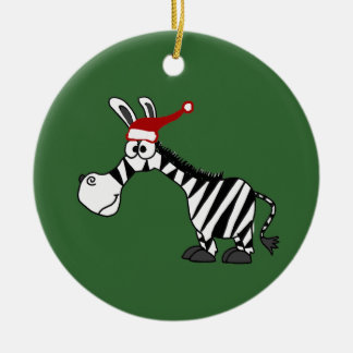 Funny Zebra in Santa Hat Christmas Cartoon Ceramic Ornament