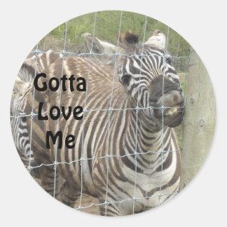 Funny Zebra Classic Round Sticker