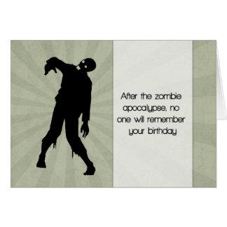 Funny Zombie Birthday Card with Sunburst Greeting Card