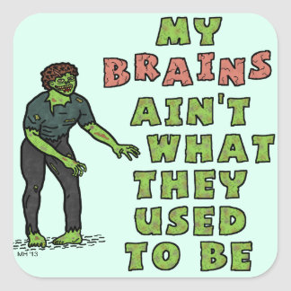 Funny Zombie Brains Old Age Square Sticker