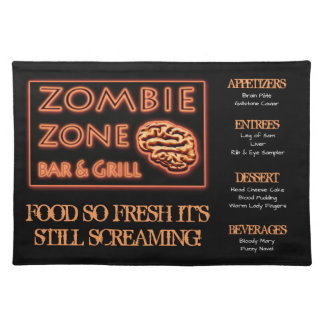 Funny Zombie Food  Fresh Still Screaming Halloween Placemat