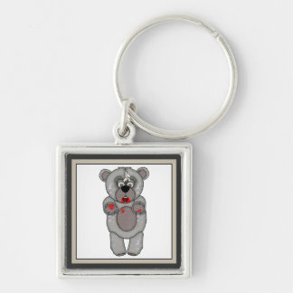 Funny Zombie Teddy Bear Custom Keyring Silver-Colored Square Keychain