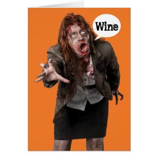 Funny Zombie Wino Happy Hallowine Halloween Card