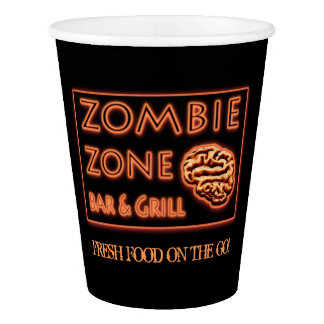 Funny Zombie Zone Halloween Party Paper Cup