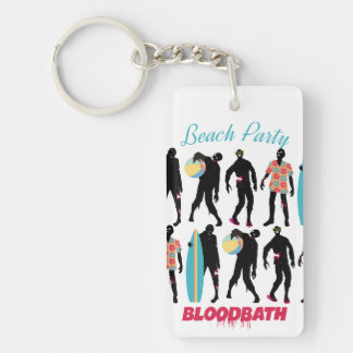 Funny zombies summer fun beach party keychain