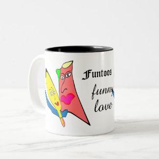 funtoos funny love Two-Tone coffee mug