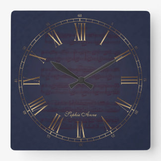 Für Elise Music Gold Navy Blue Roman Monogram Square Wall Clock