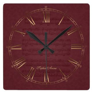 Für Elise Music Royal Gold Burgundy Roman Monogram Square Wall Clock