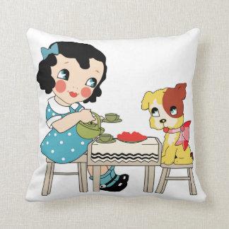 Fur Ever Friends Tea Party Throw Pillow