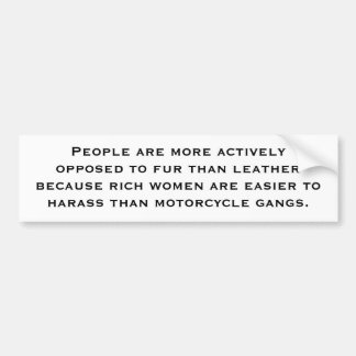 Fur Vs. Leather Bumper Sticker