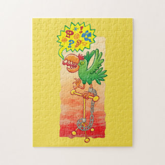 Furious green parrot saying bad words jigsaw puzzle