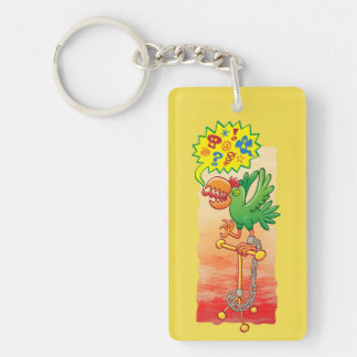 Furious green parrot saying bad words keychain