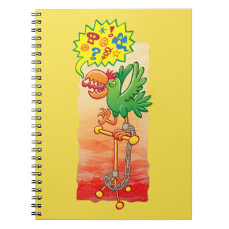 Furious green parrot saying bad words notebooks