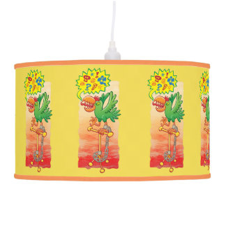 Furious green parrot saying bad words pendant lamp
