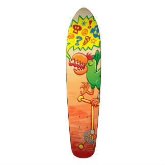Furious green parrot saying bad words skate board decks