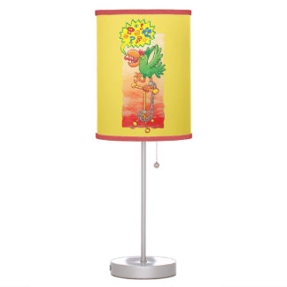 Furious green parrot saying bad words table lamp