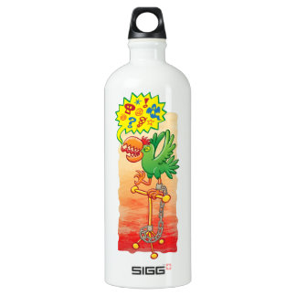Furious green parrot saying bad words water bottle