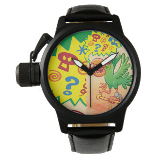 Furious green parrot saying bad words wrist watches