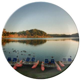Furnas lake at sunset plate
